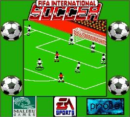 In game image of FIFA International Soccer on the Nintendo Super Gameboy.
