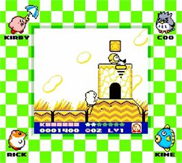 In game image of Kirby's Dream Land 2 on the Nintendo Super Gameboy.