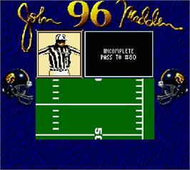 In game image of Madden '96 on the Nintendo Super Gameboy.