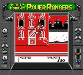 In game image of Mighty Morphin Power Rangers on the Nintendo Super Gameboy.