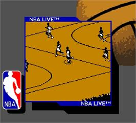 In game image of NBA Live 96 on the Nintendo Super Gameboy.