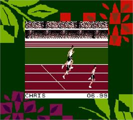 In game image of Olympic Summer Games on the Nintendo Super Gameboy.