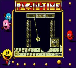 In game image of Pac-in-Time on the Nintendo Super Gameboy.
