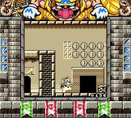 In game image of Wario Land II on the Nintendo Super Gameboy.