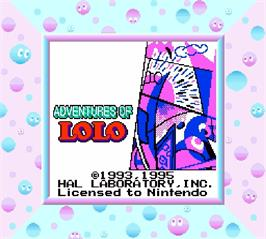 Title screen of Adventures of Lolo on the Nintendo Super Gameboy.