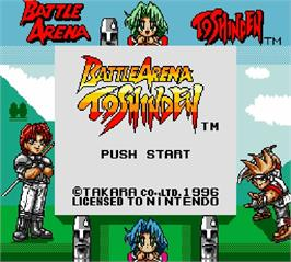 Title screen of Battle Arena Toshinden on the Nintendo Super Gameboy.