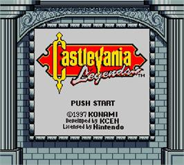 Title screen of Castlevania - Legends on the Nintendo Super Gameboy.