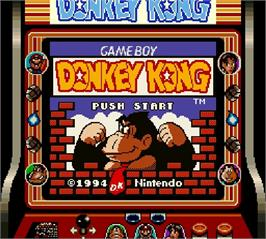 Title screen of Donkey Kong on the Nintendo Super Gameboy.