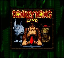Title screen of Donkey Kong Land on the Nintendo Super Gameboy.