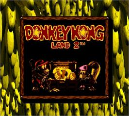 Title screen of Donkey Kong Land 2 on the Nintendo Super Gameboy.