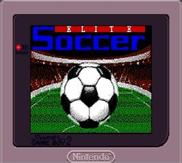 Title screen of Elite Soccer on the Nintendo Super Gameboy.