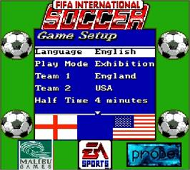 Title screen of FIFA International Soccer on the Nintendo Super Gameboy.