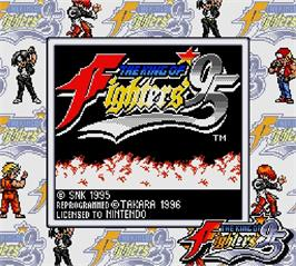 Title screen of King of Fighters '95, The on the Nintendo Super Gameboy.