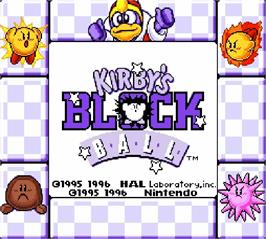Title screen of Kirby's Block Ball on the Nintendo Super Gameboy.