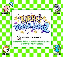 Title screen of Kirby's Dream Land 2 on the Nintendo Super Gameboy.