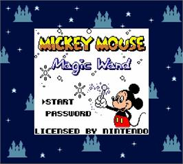 Title screen of Mickey Mouse - Magic Wand on the Nintendo Super Gameboy.
