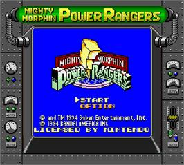 Title screen of Mighty Morphin Power Rangers on the Nintendo Super Gameboy.