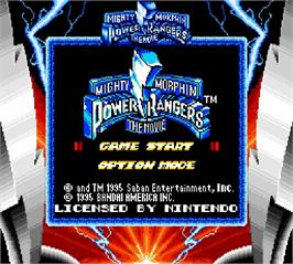 Title screen of Mighty Morphin Power Rangers - The Movie on the Nintendo Super Gameboy.