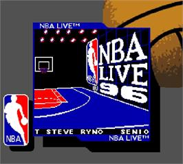 Title screen of NBA Live 96 on the Nintendo Super Gameboy.