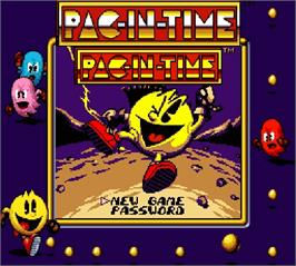 Title screen of Pac-in-Time on the Nintendo Super Gameboy.