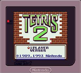 Title screen of Tetris 2 on the Nintendo Super Gameboy.