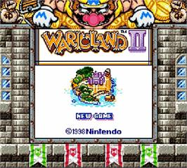 Title screen of Wario Land II on the Nintendo Super Gameboy.