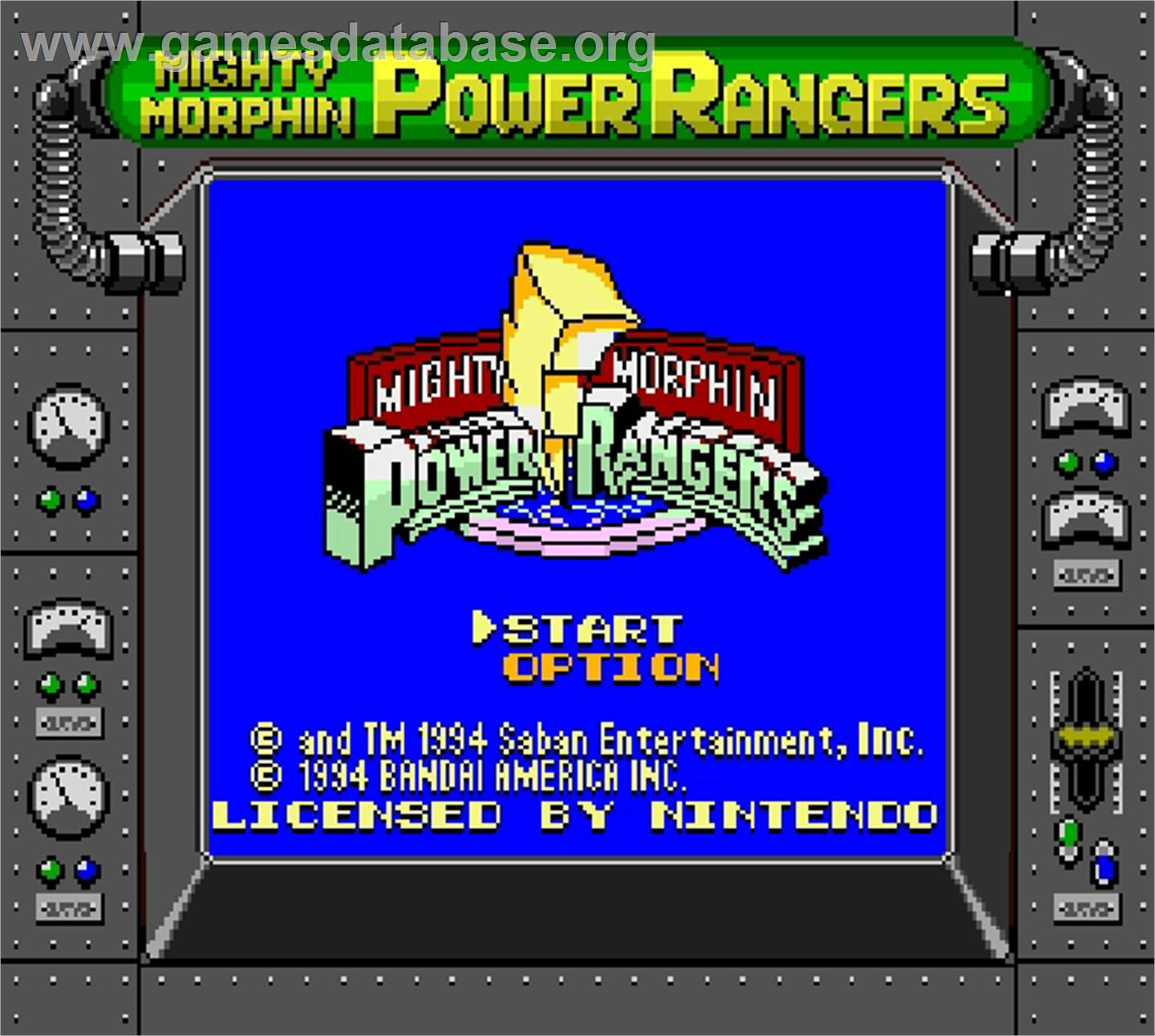 Mighty Morphin Power Rangers - Nintendo Super Gameboy - Artwork - Title Screen