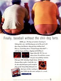 Advert for Virtual League Baseball on the Nintendo Virtual Boy.
