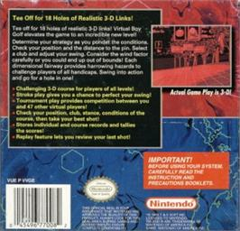 Box back cover for Golf on the Nintendo Virtual Boy.