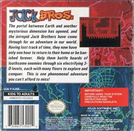 Box back cover for Jack Bros. on the Nintendo Virtual Boy.
