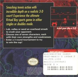 Box back cover for Mario's Tennis on the Nintendo Virtual Boy.
