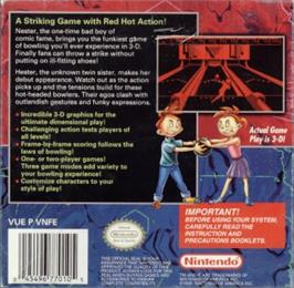 Box back cover for Nester's Funky Bowling on the Nintendo Virtual Boy.
