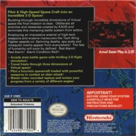 Box back cover for Red Alarm on the Nintendo Virtual Boy.