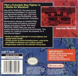 Box back cover for Vertical Force on the Nintendo Virtual Boy.