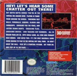 Box back cover for Virtual League Baseball on the Nintendo Virtual Boy.