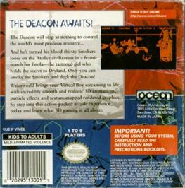 Box back cover for Waterworld on the Nintendo Virtual Boy.