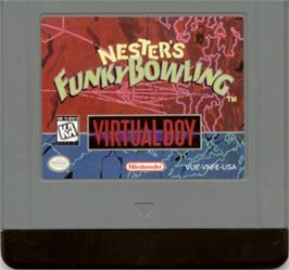 Cartridge artwork for Nester's Funky Bowling on the Nintendo Virtual Boy.