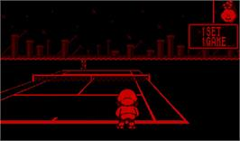 In game image of Mario's Tennis on the Nintendo Virtual Boy.