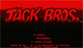 Title screen of Jack Bros. on the Nintendo Virtual Boy.