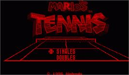 Title screen of Mario's Tennis on the Nintendo Virtual Boy.