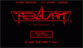 Title screen of Red Alarm on the Nintendo Virtual Boy.