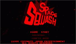 Title screen of Space Squash on the Nintendo Virtual Boy.