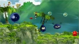 In game image of Rayman Origins on the Nintendo Wii.