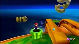 In game image of Super Mario Galaxy on the Nintendo Wii.
