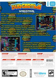 Box back cover for BurgerTime World Tour on the Nintendo WiiWare.