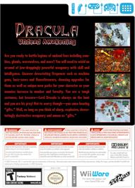 Box back cover for Dracula - Undead Awakening on the Nintendo WiiWare.