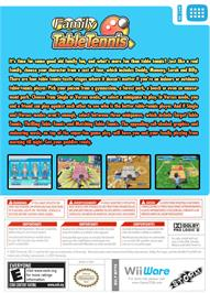Box back cover for Family Table Tennis on the Nintendo WiiWare.
