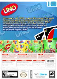 Box back cover for UNO on the Nintendo WiiWare.