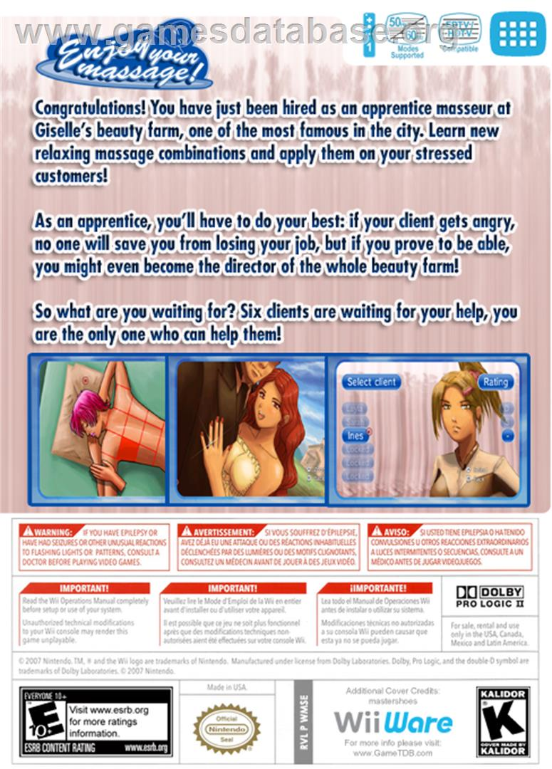 Enjoy your Massage! - Nintendo WiiWare - Artwork - Box Back