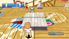 In game image of Family Table Tennis on the Nintendo WiiWare.